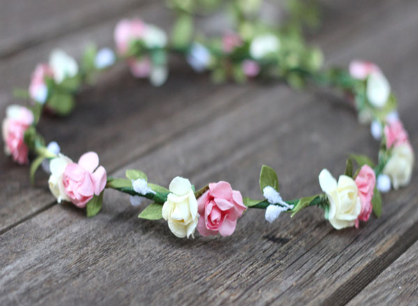 Pink and Ivory Flower Crown Garland Coachella Floral Crown | Wedding Flower Crown
